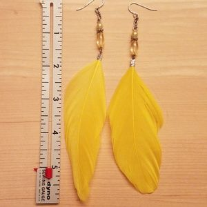 Bright Yellow Dressy Feather Earrings